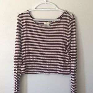 Forever21+ red striped crop long sleeve